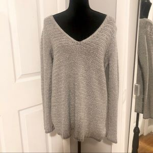 Knitted Grey V Neck Long Sleeve Sweater